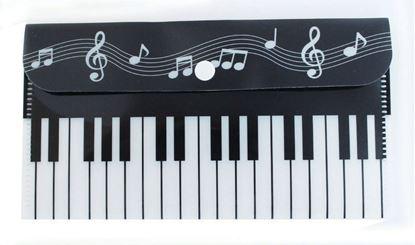 ミュージックマスクケース ブラック 鍵盤&五線譜 の画像